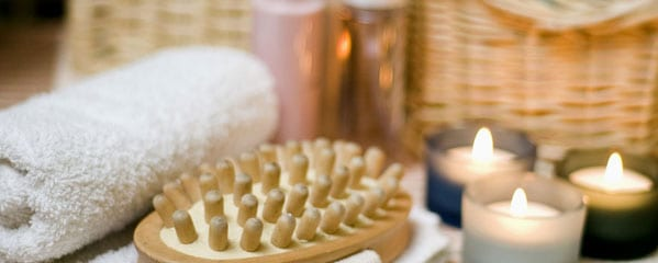towels and candles for spa relaxation